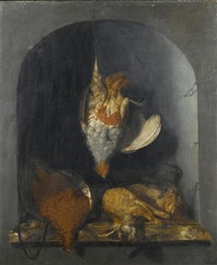 a dead partridge hanging from a nail, with a dead pheasant, two hares and hunting paraphernalia on a marble ledge by cornelis van lelienbergh