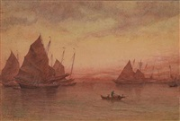 hong kong junks at sunset by james b. coughtrie