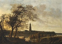 view of rhenen with figures along the nederrijn, the cunerakerk and the palace of the winter king beyond by anthony jansz van der croos