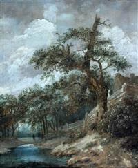een boom bij een beekje, een wandelaar in het verschiet by cornelis gerritsz decker