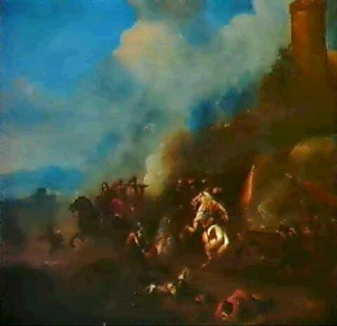 ryttarbatalj vid en borg by alexander van gaelen