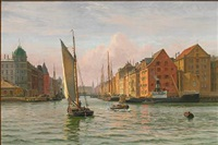 view from the port of copenhagen towards nyhavn by vilhelm karl ferdinand arnesen