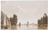 view on the river vecht, near maarssen by hendricus spilman