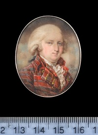 a gentleman, wearing tartan coat with gold embroidered button holes, matching waistcoat, frilled white chemise, tied stock and powdered wig with ribbon bow by john bogle