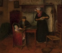 interior with family, laren by wally (walburga wilhelmina) moes
