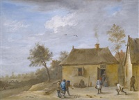 landscape with figures playing skittles by david teniers the younger