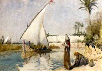 water carriers on the banks of the nile with a felucca ghosting by by hely augustus morton smith