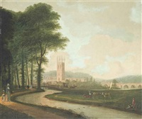 a view of magdalen college, oxford, seen from the meadows by edmund garvey