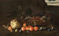 natura morta con cesta d'uva, zucca, pesche, fichi e donnola by agostino verrocchi
