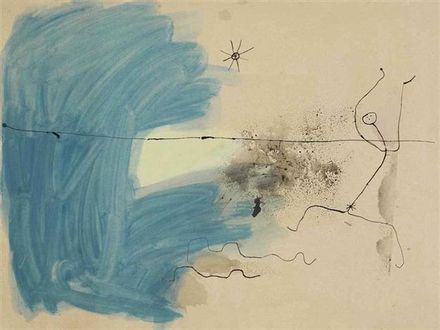 femme sur la prairie à lheure du crépuscule by joan miró