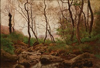 wooded landscape with stream by theodore lespinasse