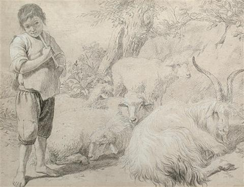 A shepherd boy in a landscape with a goat and sheep by