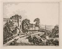 vierzehn landschaftsdarstellungen, plates 5-12 (8 works from vorlagen zum landschaftszeichnen after johann christoph erhard) by georg adam