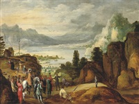 a mountainous river landscape with the legend of wilhelm tell by joos de momper the elder