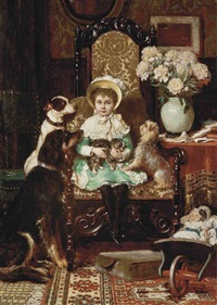 doddy and her pets, a portrait of the daughter of j. rolls hoare by charles trevor garland