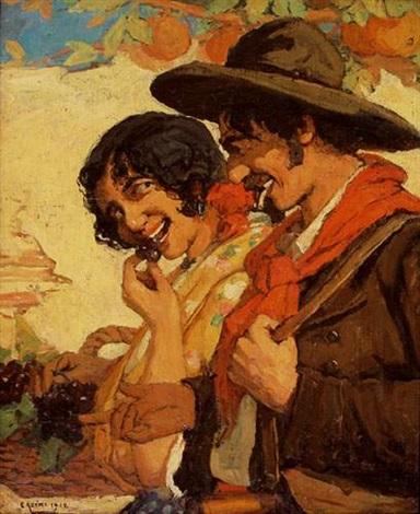 couple de vendangeurs andalous by marius ernest joseph azema