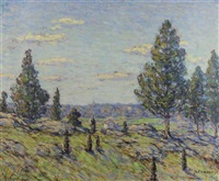 landscape with cedars, connecticut by elmer livingston macrae