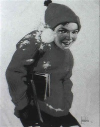 magazine cover: boy hit in face by snowball by frederick loewenheim