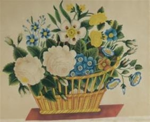 a yellow basket filled with garden blooms by laetitia adriance