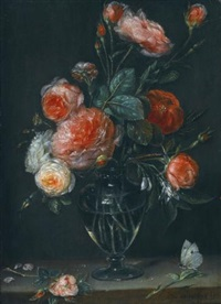 still life of roses in a glass jar on a stone ledge with a butterfly by alexander adriaenssen the elder