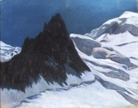clair de lune en haute montagne by pierre ribera