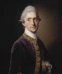 portrait of henry david erskine, 10th earl of buchan (1710-1767), half-length, in a gold-embroidered purple coat by francis cotes