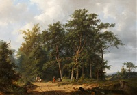 horse and cart with figures on a track gathering firewood in a wooded landscape by frans arnold breuhaus de groot