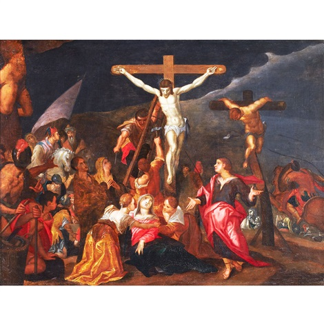 christ being nailed to the cross between the two thieves by sir peter paul rubens