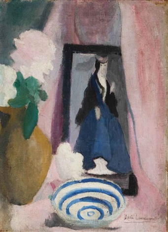 nature morte sur une table bouquet coupe et petit portrait by marie laurencin