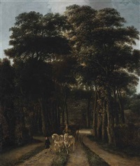 a wooded landscape with a horse-drawn carriage on a track by pieter jansz van asch