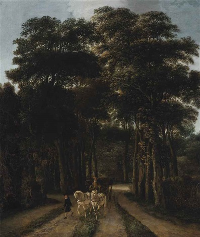 a wooded landscape with a horse drawn carriage on a track by pieter jansz van asch