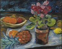 still life with fruit (+ still life sketch in black charcoal, verso) by werner drewes