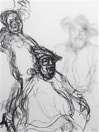 george melly (working studies for the picture in the national portrait gallery) (3 works on one) by maggi hambling