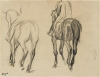 deux études de cavalier (studies) by edgar degas