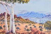 central desert landscape by oscar namatjira
