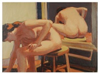 naked model in the artist's studio by william anzalone