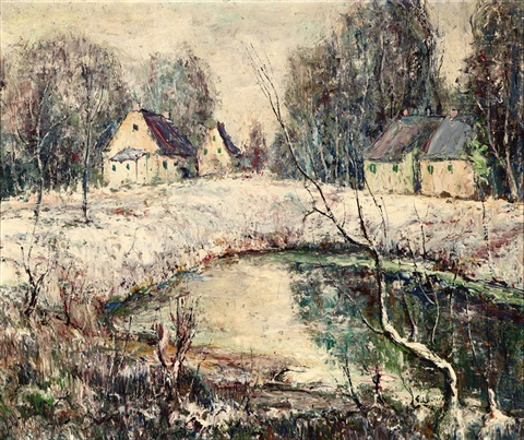 snow scene with cottages by ernest lawson
