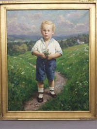 portrait of a boy outside holding flowers by emil rau