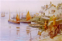 the harbour, mousehole, cornwall by ernest f. hill