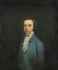 portrait of of a boy (henry lidgebird?) wearing a blue coat with a green waistcoat by jeremiah davison