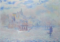 ships in new york harbor by theodore earl butler