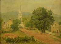 village with church by asher brown durand