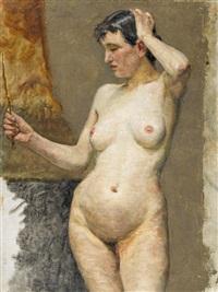 weiblicher akt mit handspiegel by sigismund righini