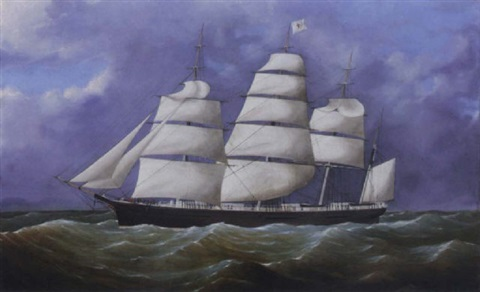 the great republic under reduced sail in coastal waters by duncan mcfarlane