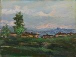 paesaggio di campagna con case by licinio barzanti