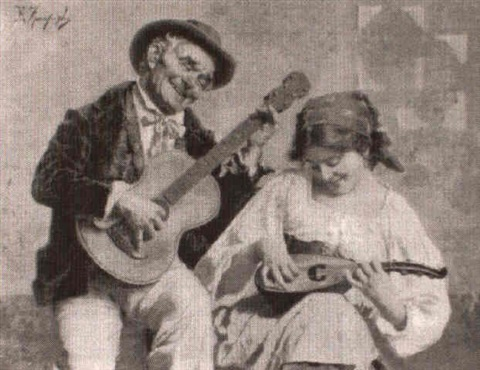 Old man playing guitar and young gypsy playing mandolin by