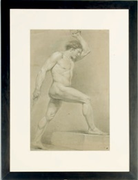 male nude (study) (+ male nude, study, irgr; 2 works) by francois-louis gounod