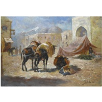donkeys at rest by georgy gabashvili