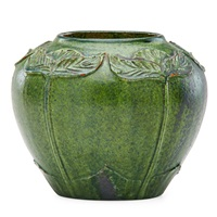 vase with carved and applied leaves by merrimac