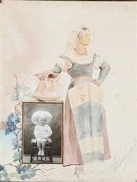 fotoramme dekoreret med en italienerinde i et landskab by marie (princess of denmark)